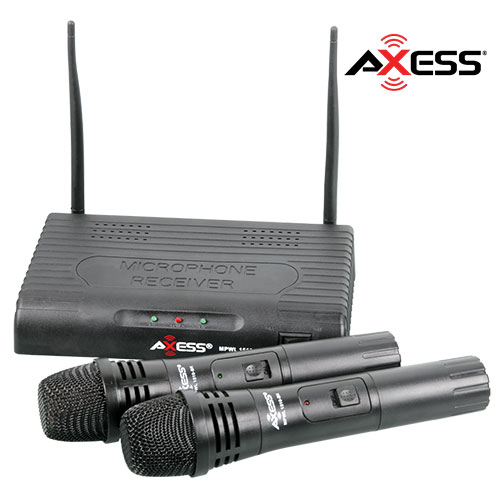 Axess Dual VHF Wireless Microphone System with 150' Range