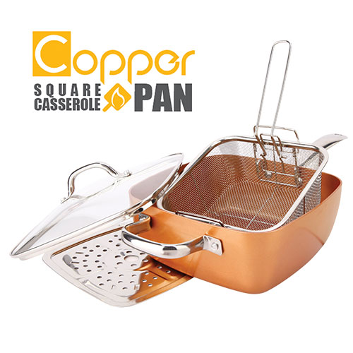 "Non-Stick Copper Titianium Chef 5 Piece 9.5"" Square Pan Set"