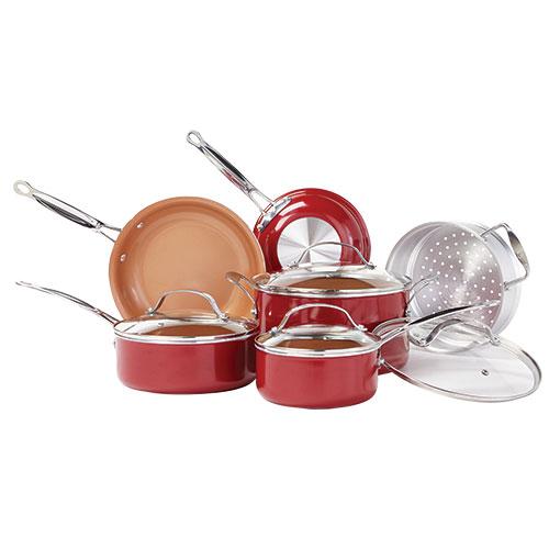 Red Copper Non-Stick 10 Piece Pan Set