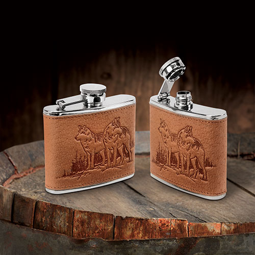 Leather-Wrapped 4 oz. Wolf Flask - 2 Pack