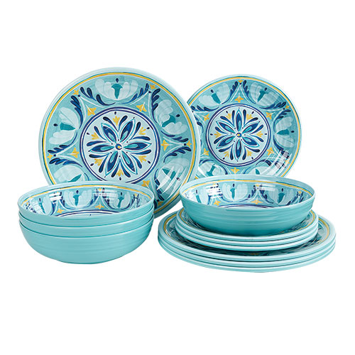 Medallion 12 Piece Melamine Dinnerware Set