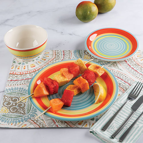 Gibson Home 12 Piece Rainbow Swirl Stoneware Set