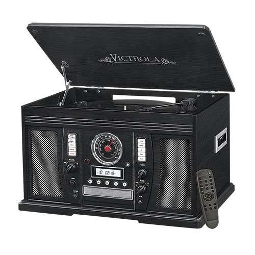 Victrola 7-In-1 Black Music System