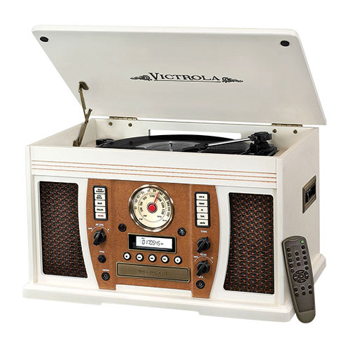 Victrola 7-In-1 White Music System