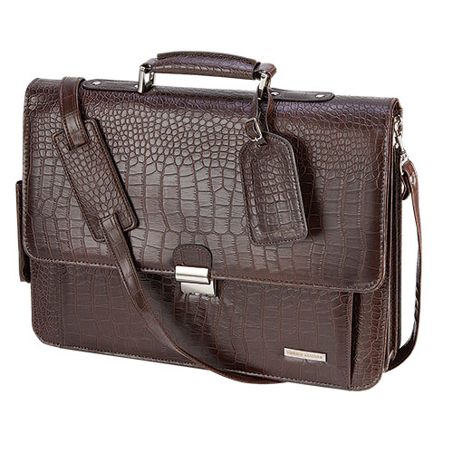 Vintage Leather Faux Crocodile Leather Briefcase