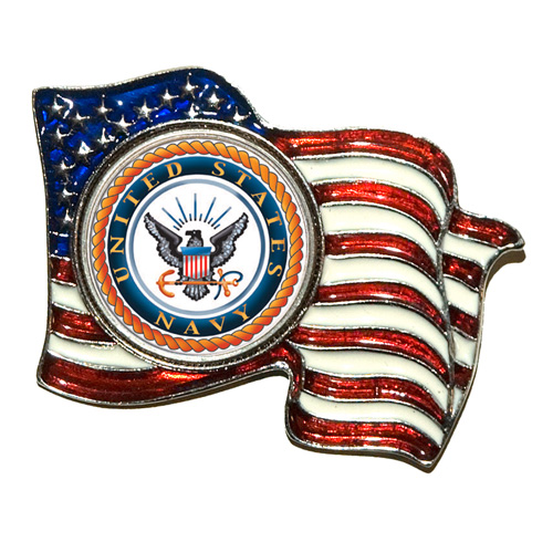 Armed Forces Colorized Quarter Flag Pin - Navy