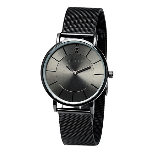 Steeltime Men's Stainless Steel Watch with Black Mesh Band