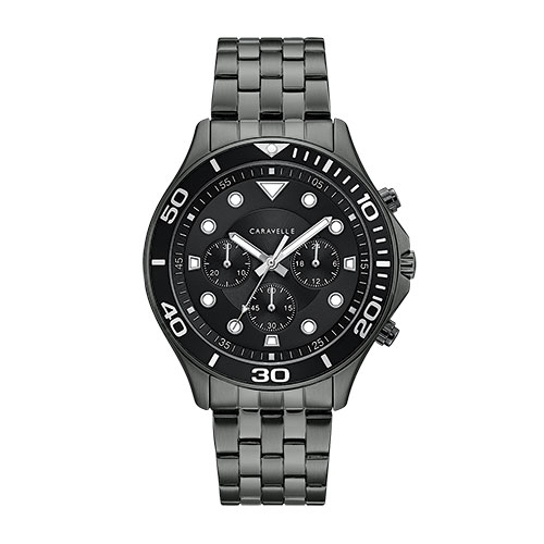 Caravelle Black Chronograph Men's Watch