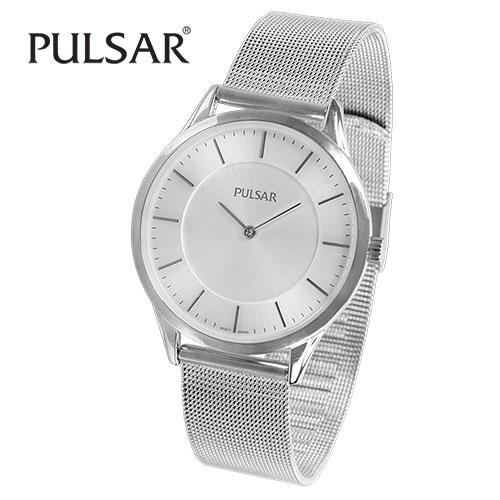 Pulsar PTA514 Men's White Dial Mesh Band Watch
