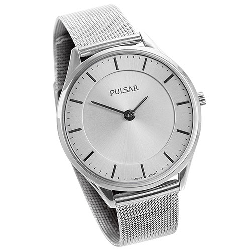 Pulsar Ladies White Mesh Watch