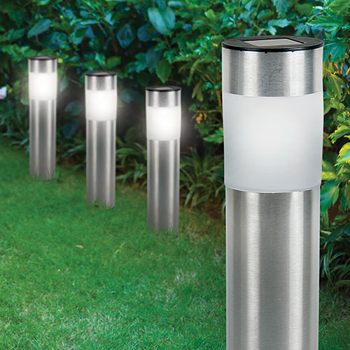 Gardenstar LED Solar Bollard Lights - 4 Pack