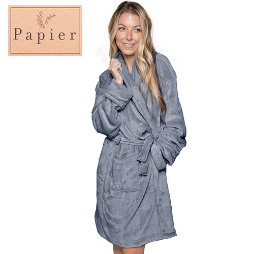 Papier Dark Smoky Blue Plush Robe