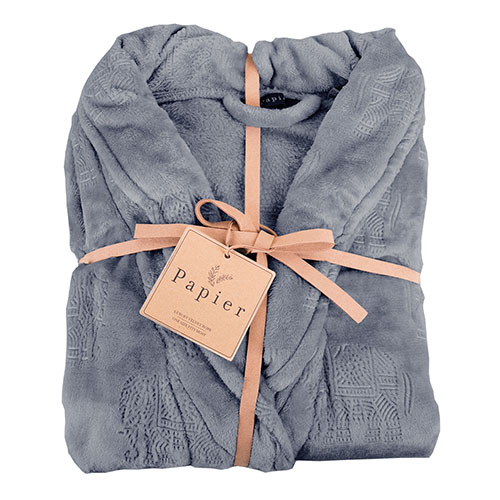 Northpoint Trading Plush Bath Robe - Grey