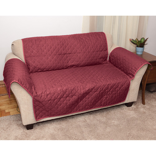 Polyester Burgundy Reverse Loveseat Cover