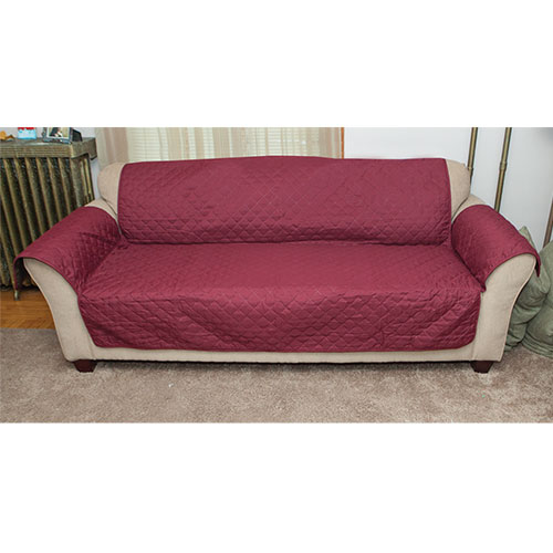 Polyester Burgundy Reverse Sofa Cover