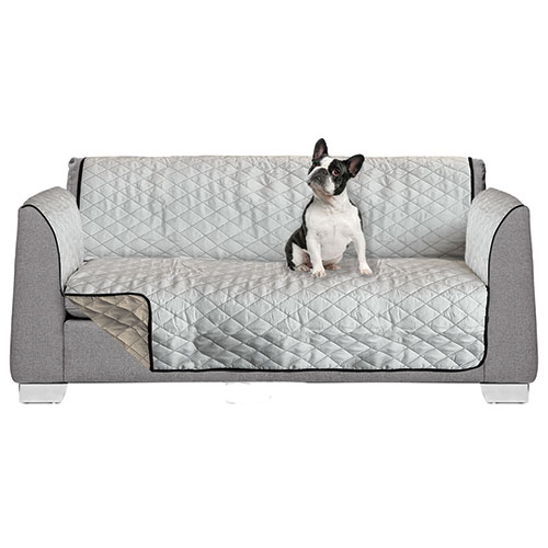 AKC Reversible Silver/Tan Polyester Cover - Loveseat