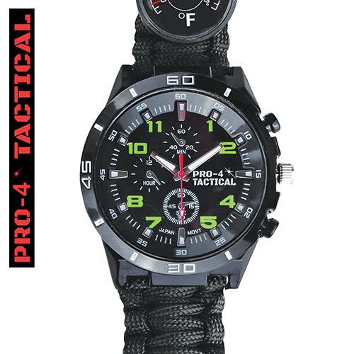 Pro-4 Black Tactical Survival Watch
