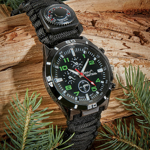 Pro-4 Tactical Black Survival Watch