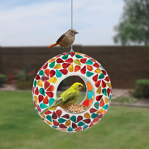 Home Craft Mosaic Glass Bird Feeder - 2 Pack
