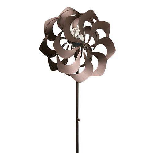 Metal Garden Spinner with Solar Light