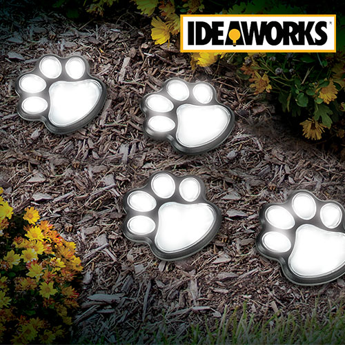 Ideaworks JB7356 Solar Paw Print Path Lights - 8 Pack