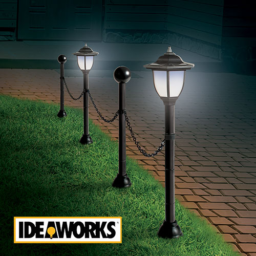 Ideaworks JB8159 Solar Post & Chain Light Set