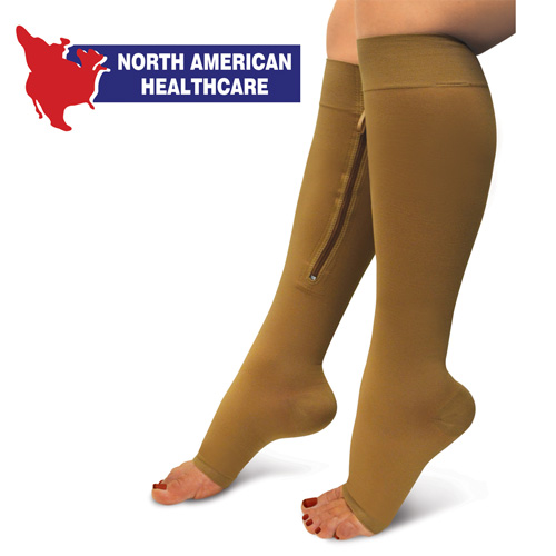 Zipper Compression Socks - Beige