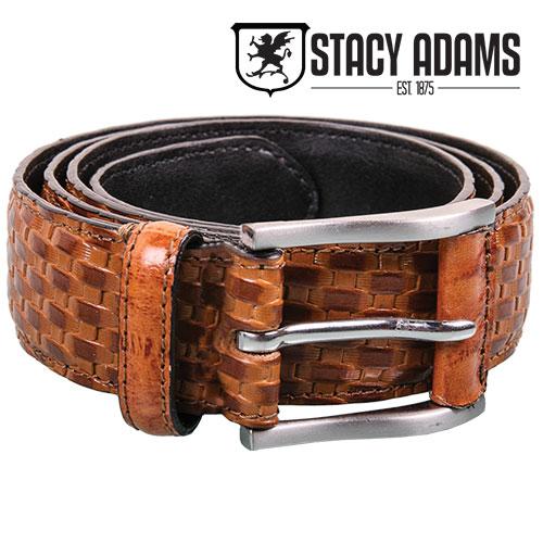 Stacy Adams Mens Tan Weave Belt