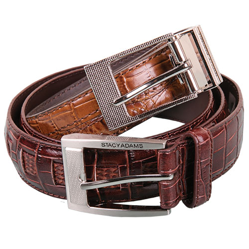 Stacy Adams Croc Print Belts