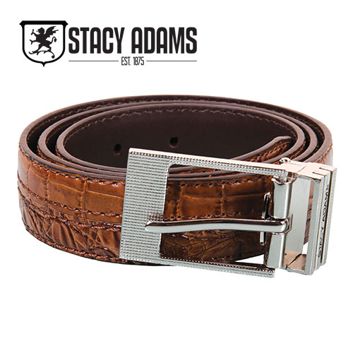Stacy Adams Men's Cognac Crocodile Belt