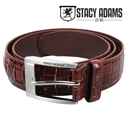 Stacy Adams Men's Burgundy Crocodile Belt
