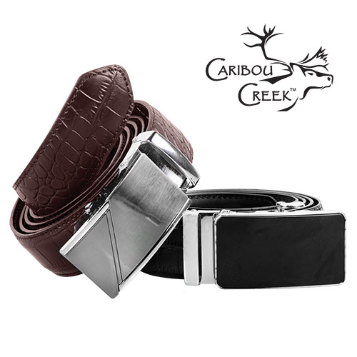 Caribou Creek Black and Brown Leather Crocodile Belts