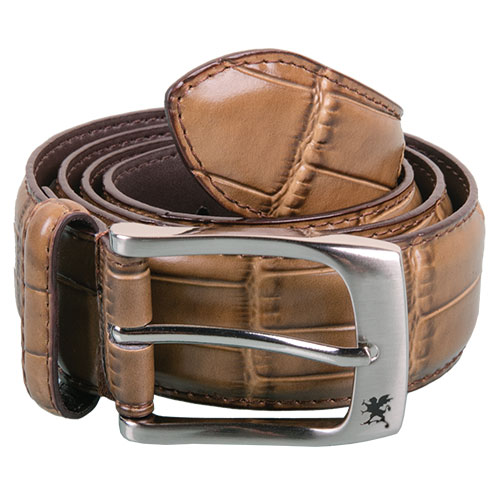 Stacy Adams Men's Cognac Crocodile Print Belt