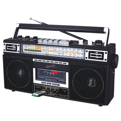 SuperSonic 4-Band Radio/Cassette Player - Black