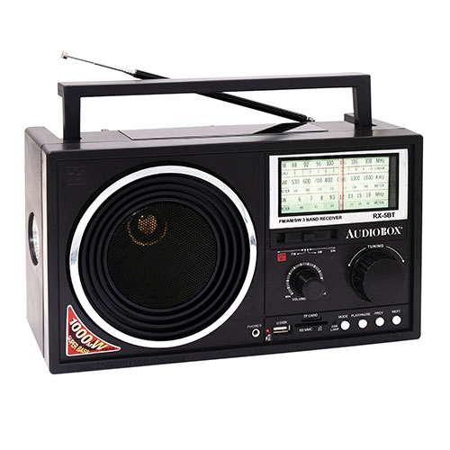 Audiobox RX-5BT Portable 3-Band Bluetooth/Solar Radio