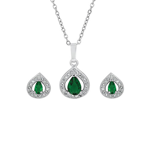 Steeltime Swarovski Emerald Pendant and Earrings Set