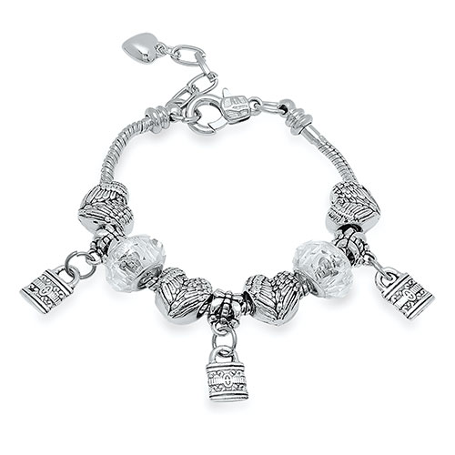 Steeltime Heart and Lock Charm Bracelet