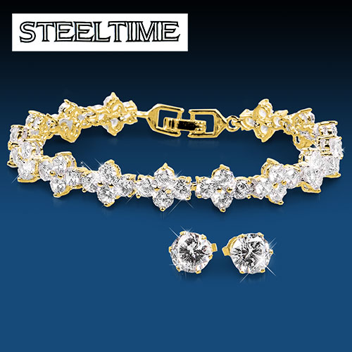Steeltime Yellow Gold Bracelet & Earring Set