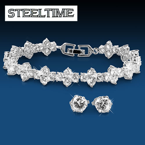 Steeltime White Gold Bracelet & Earring Set