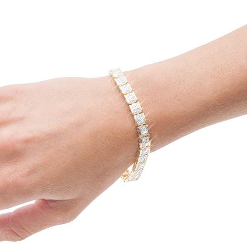 14K Gold Diamond Tennis Bracelet - 7 Inch