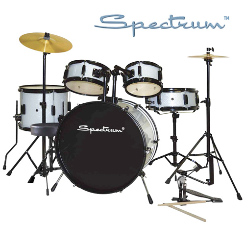 Spectrum 5-Piece Drum Set - Silver