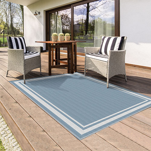 Reversible Light Blue Indoor/Outdoor Rug
