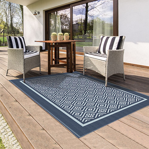Reversible Navy Indoor/Outdoor Rug