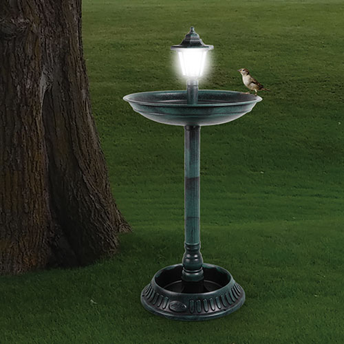 33inch Bird Bath with Solar Lamp