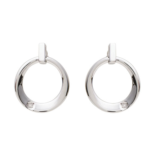 Sterling Silver/Diamond Contemporary Earrings