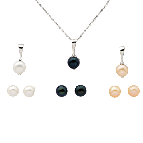Women's Earring and Necklace - White/Black/Pink