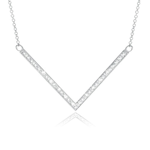 Jilco Silver Diamond V-Shaped Women's Necklace