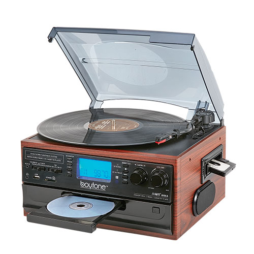 Boytone 9-in-1 Turntable/CD/Cassette Stereo System