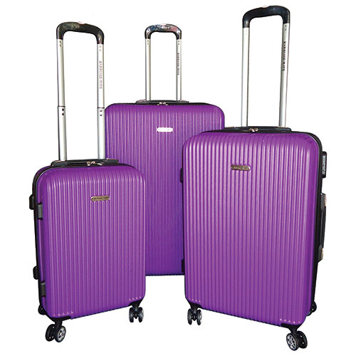 Karriage-Mate Blu Rib 3-Piece Hard side Luggage - Purple
