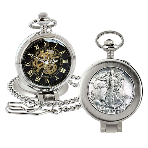 American Coin Treasures Walking Liberty Pocket Watch
